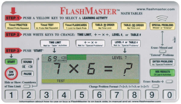 "The FlashMaster measures about 5""x7"" and has the ability to give timed tests"