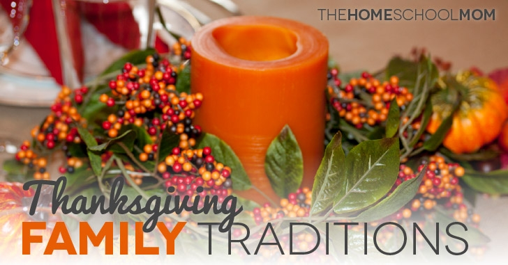 Thanksgiving Family Traditions - Candle arrangement on table in background