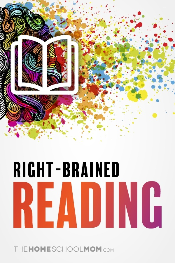 Colorful graphic of right side of brain with an outline of a book and text right-brained reading