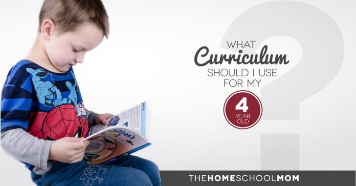 Boy sitting on a stack of books reading a book with text What Curriculum Should I use for my 4 year old