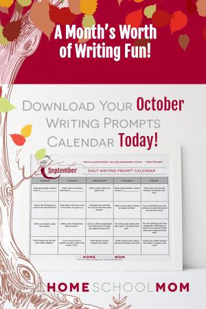October Writing Prompt Printable Calendar