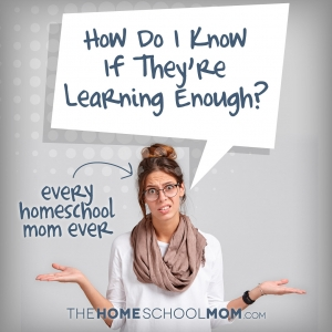 Woman in jeans, white shirt, and tax scarf with thought bubble and text Every Homeschool Mom Ever:: How Do I Know If I'm Doing Enough?