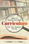 Image of open book with magnifying glass and text: How to Choose the Best Homeschool Curriculum for Your Family's Needs