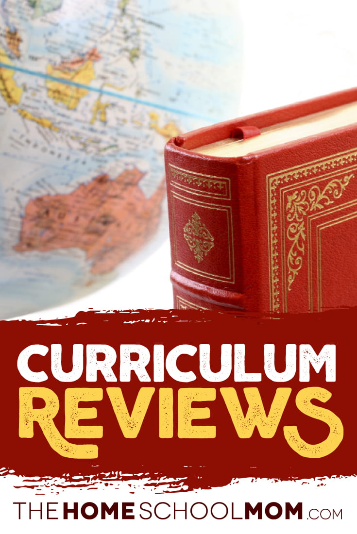 Globe and red book with text Homeschool Curriculum Reviews