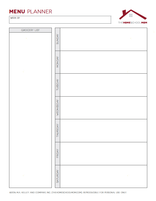 Homeschool Planner: Screenshot of Menu Planner (Unlined)
