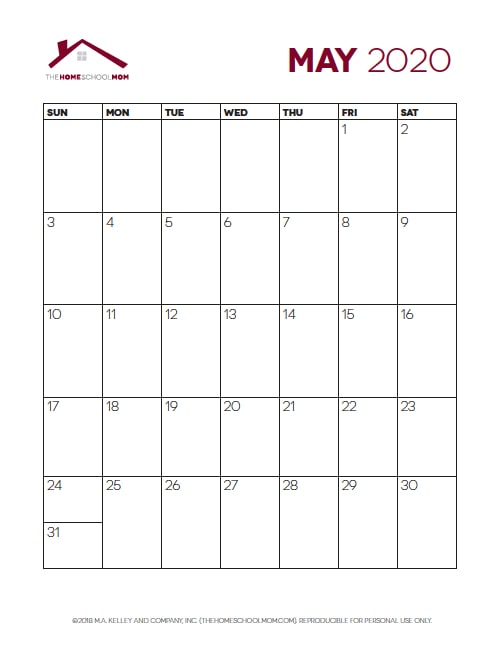 Homeschool Planner: Monthly Calendar Pages