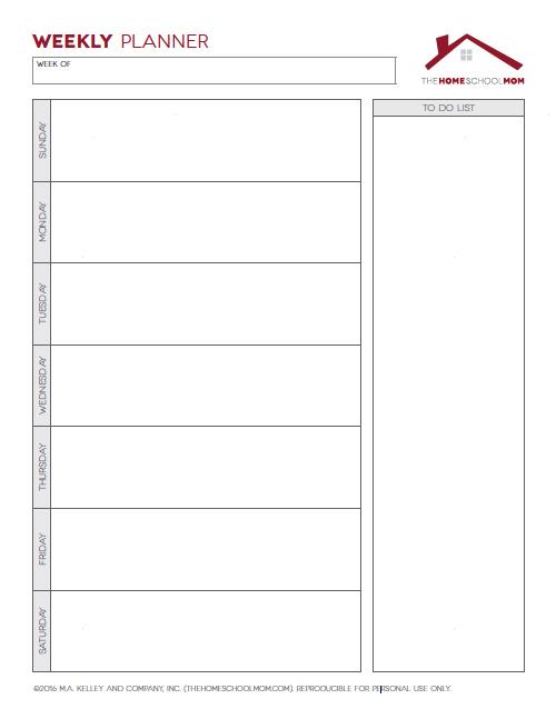 Homeschool Planner: Screenshot of Weekly Planner (Unlined)