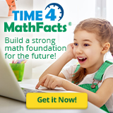 Happy girl using laptop with text Time4MathFacts: Improve a strong math foundation for the future; Get it now