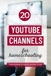 Image of hand holding a remote with text 20 YouTube Channels for Homeschooling - TheHomeSchoolMom.com