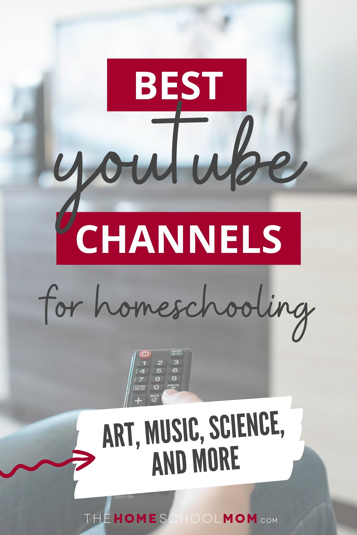 Image of hand holding a remote with text Best YouTube Channels for Homeschooling: Art, Music, Science, and More - TheHomeSchoolMom.com