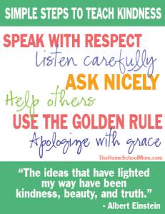 TheHomeSchoolMom - Simple Steps to Teach Kindness Printable